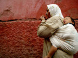 Mother and Child in the Narrow Alleys of the Kasbah  Marrakesh  Morocco