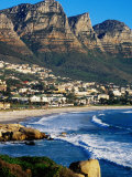 Overhead of Camps Bay with Twelve Apostles in Background  Cape Town  South Africa