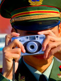 Guard Using His Camera on National Day in Tiananmen Square  Beijing  China