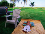 Boy Sleeping Outside Vaoto Lodge  Manua&#39;a Islands  American Samoa