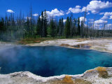 Steam Rising from Abyss Pool in West Thumb Geyser Basin  Yellowstone National Park  USA