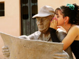 Girl in Quincinera (15th) Birthday Dress Whispering to Statue  Plaza Del Carmen  Camaguey  Cuba