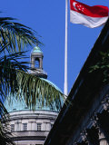 Flag and Dome of Old Supreme Court  Singapore  Singapore