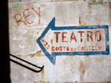 Sign on Wall Directing to Teatro  Lisbon  Portugal