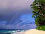 Rainbow Over Sea and Island  Seychelles