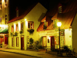 Historic Restaurant at Night  Quebec City  Canada