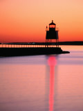 Two Harbors Breakwater Lighthouse Silhouetted at Sunset  Lake Superior  Two Harbours  USA