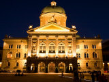 Bundeshauser (Parliament) Building Illuminated at Night  Bern  Switzerland