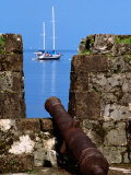 Cannon at Ruins of San Jeronimo Fort (1753)  Yacht in Background  Portobelo  Panama