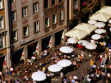Overhead of Outdoor Cafes on Marienplatz  Munich  Germany
