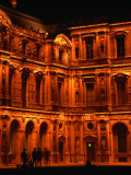 Louvre Museum Facade Illuminated Night  Paris  France