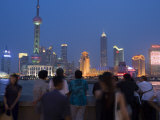 Dusk on the Bund Looking to Pudong Skyline  Shanghai  China