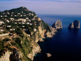 Rocky Coastline and Isola Faraglioni Offshore Rocks from Gardens of Augustus  Capri  Italy
