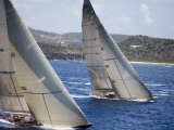 Aerial Photo of J-Class Cutters  Antigua Classic Yacht Regatta  Antigua &amp; Barbuda