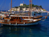 Wooden Yachts Moored in Front of Pigeon Island  Kusadasi  Turkey