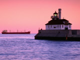 South Breakwater Outer Lighthouse at Dawn  with Ship on Horizon  Duluth Harbor  Duluth  USA