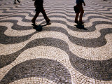 People Crossing Praca Dom Pedro IV (Rossio)  Lisbon  Portugal