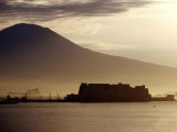 Castel Dell'Ovo and Vesuvius in Background  Naples  Italy