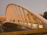 People Walking on Puente De Calatrava (Calatrava Bridge)  Valencia  Spain