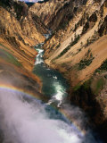 Overhead of Valley and River from Brink of Waterfall  Yellowstone National Park  USA