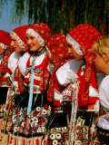 Women Wearing Folk Dress During St Wenceslas Feast Festival  Kyjovska Vs  Moravany  Czech Republic