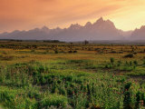 Wooden Fence Across Plain with Teton Range Behind  Grand Teton National Park  USA