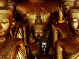 Gilded Buddhas in Wat Jong Kham  Kengtung  Myanmar (Burma)