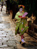 Maiko Walking Along Street in Gion  Kyoto  Japan