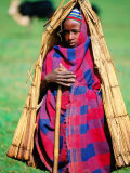"Young Cowherd in Traditional Reed ""Raincoat "" Simien Mountains National Park  Ethiopia"