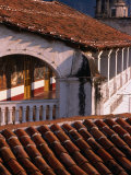 Ceramic Tiled Roofs and Colonial Arch  Taxco  Mexico