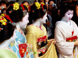 Geisha and Maiko at Memorial for Poet Yoshii Isamu in Gion  Japan
