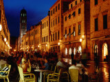 Outdoor Cafe on Placa at Dusk  Dubrovnik  Croatia