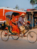 Indian Man in Bicycle Rickshaw  India