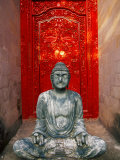 Buddha at Ornate Red Door  Ubud  Bali  Indonesia