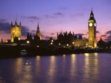 Big Ben  Houses of Parliament and the River Thames at Dusk  London  England