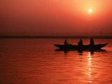 Sunset over the Ganges River in Varanasi  India