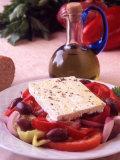 Salad and Bottle of Cretan Olive Oil  Crete  Greece