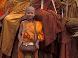 Monk with Alms Wok at That Luang Festival  Laos