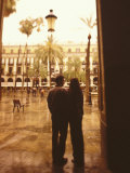 Couple at Gothic Square  Plaza Reial  Barcelona  Spain