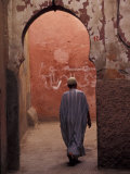 Man Walking Through Souq Arch  Marrakech  Morocco