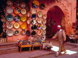 Muslim Man Walks by Wall of Moroccan Pottery  Marrakech  Morocco