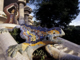 Lizard Mosaic in Parc Guell  Barcelona  Spain