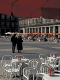 Cafe Tables in Plaza Mayor  Madrid  Spain