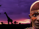 Maasai Warrior with Sunset on the Serengeti  Kenya
