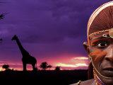 Maasai Warrior with Sunset on the Serengeti  Kenya