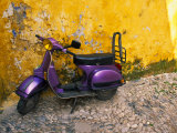 Vespa and Yellow Wall in Old Town  Rhodes  Greece
