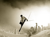 Ski Jump in Fog at Big Mountain Resort  near Whitefish  Montana  USA