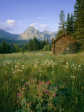 Old Park Service cabin in the Cut Bank Valley of Glacier National Park in Montana
