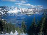 Crater Lake During a Cold Winter  Oregon  USA