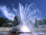 Children Play in the International Fountain of Seattle Center  Seattle  Washington  USA